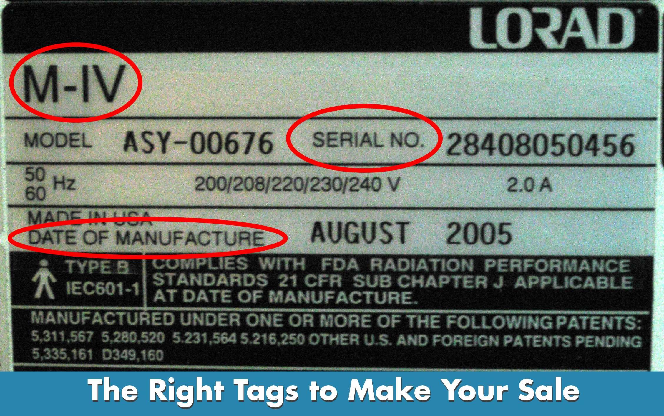 Imaging Equipment Serial Tags