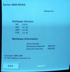 OEC 9800 Help Screen